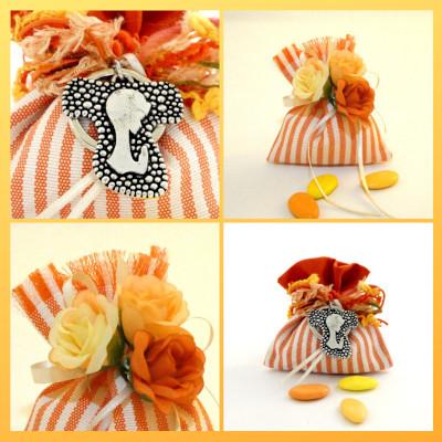 Sacchetto lino rigato arancio